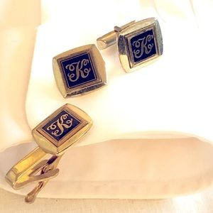 "Vintage ""K"" Cufflinks - Pat. 2472958 - Silverplate"